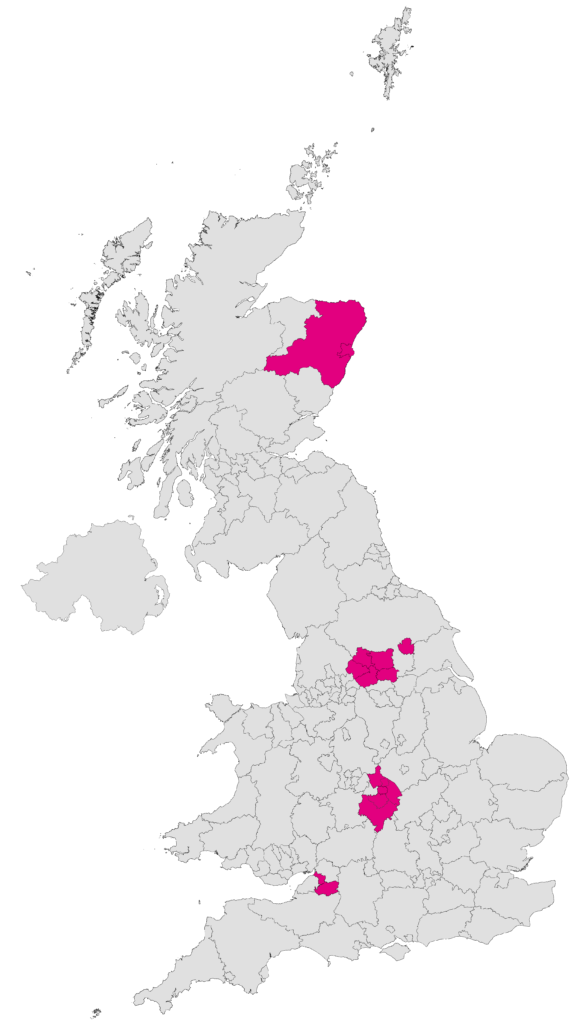 An overview of the areas covered by the Gigabit Connectivity Vouchers pilot scheme